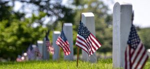 Cemetery with American flags