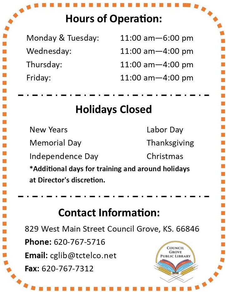 Hours Holidays and Contact Information